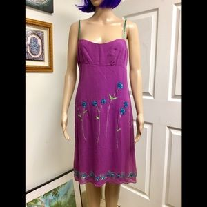Nanette leopore purple silk beaded dress size 8